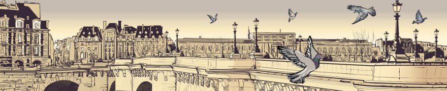 Изображение для стеклянного кухонного фартука, скинали: город, архитектура, птицы, gorstar012