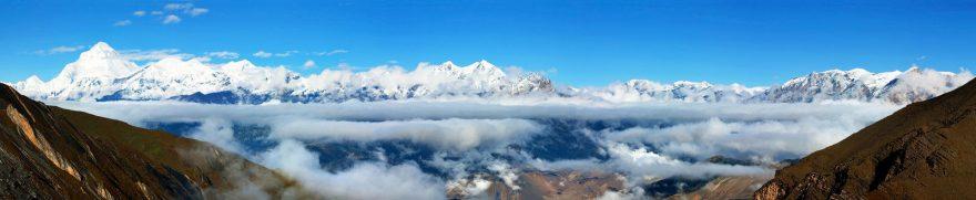Изображение для стеклянного кухонного фартука, скинали: снег, горы, облака, goryimg003
