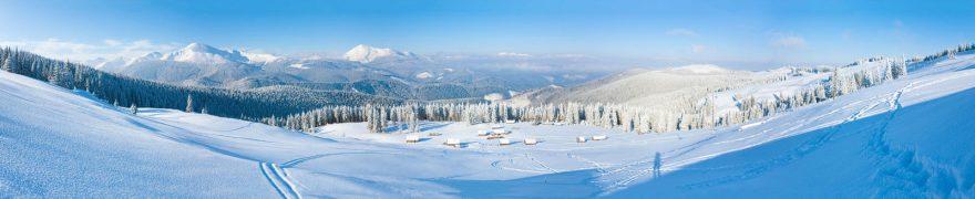 Изображение для стеклянного кухонного фартука, скинали: зима, снег, лес, горы, goryimg007