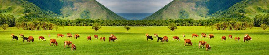 Изображение для стеклянного кухонного фартука, скинали: поле, горы, животные, коровы, jivdoma007