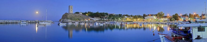 Изображение для стеклянного кухонного фартука, скинали: море, ночь, порт, morokea001
