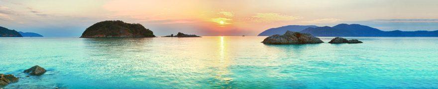 Изображение для стеклянного кухонного фартука, скинали: закат, море, горы, остров, morokea011