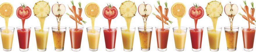 Изображение для стеклянного кухонного фартука, скинали: фрукты, напитки, стаканы, овощи, napitki001