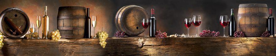 Изображение для стеклянного кухонного фартука, скинали: вино, бочка, виноград, бутылка, napitki006