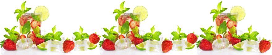 Изображение для стеклянного кухонного фартука, скинали: ягоды, клубника, лед, лайм, стаканы, мята, napitki010