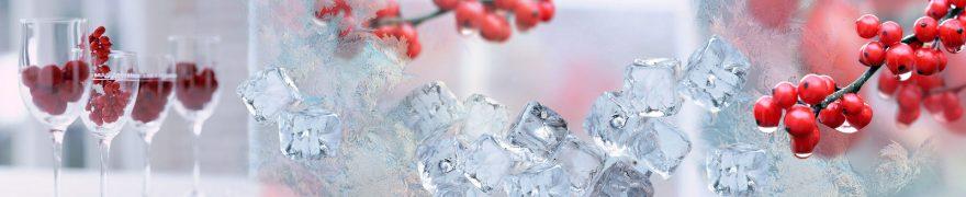 Изображение для стеклянного кухонного фартука, скинали: ягоды, лед, napitki011