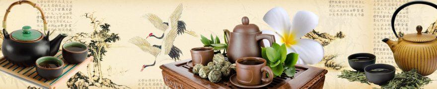 Изображение для стеклянного кухонного фартука, скинали: посуда, чай, кружка, чайники, napitki014