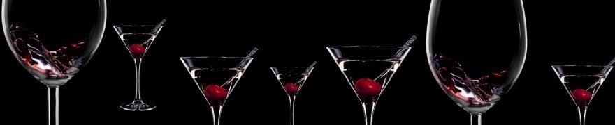 Изображение для стеклянного кухонного фартука, скинали: напитки, вишня, бокал, napitki015