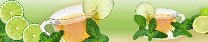 Изображение для стеклянного кухонного фартука, скинали: посуда, чай, лайм, кружка, napitki019