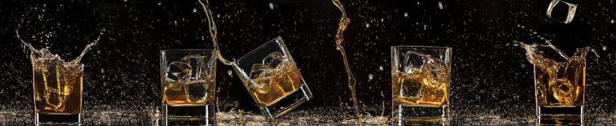 Изображение для стеклянного кухонного фартука, скинали: напитки, лед, стаканы, napitki020