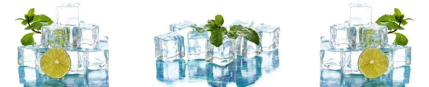 Изображение для стеклянного кухонного фартука, скинали: лед, лайм, мята, napitki021