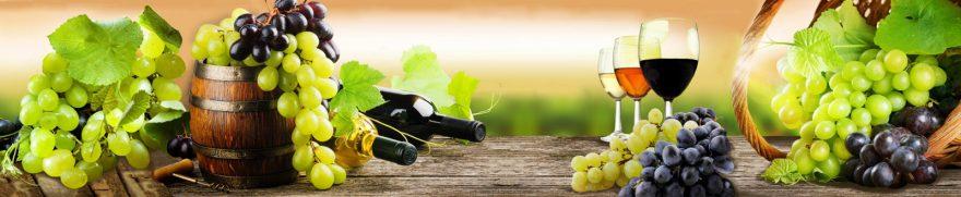 Изображение для стеклянного кухонного фартука, скинали: напитки, бочка, виноград, бутылка, бокал, napitki023