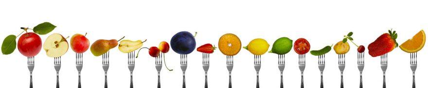 Изображение для стеклянного кухонного фартука, скинали: фрукты, вилки, ягоды, ovofruk001