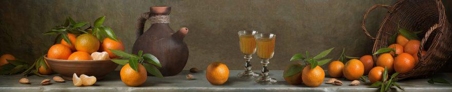 Изображение для стеклянного кухонного фартука, скинали: посуда, фрукты, мандарины, ovofruk014