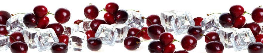 Изображение для стеклянного кухонного фартука, скинали: ягоды, вишня, лед, ovofruk016