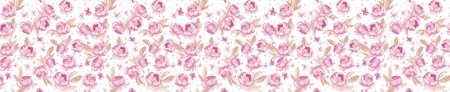 Изображение для стеклянного кухонного фартука, скинали: цветы, паттерн, patneit010