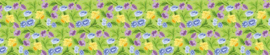 Изображение для стеклянного кухонного фартука, скинали: цветы, паттерн, patneit030
