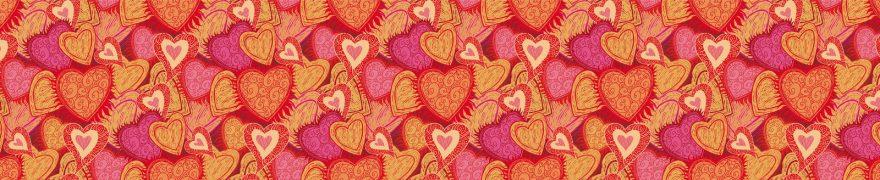 Изображение для стеклянного кухонного фартука, скинали: паттерн, сердце, patneit036