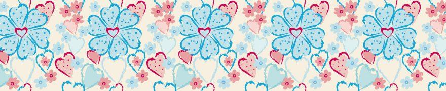 Изображение для стеклянного кухонного фартука, скинали: цветы, паттерн, сердце, patneit043