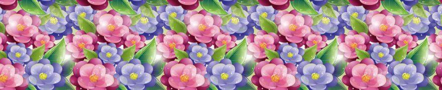 Изображение для стеклянного кухонного фартука, скинали: цветы, паттерн, patneit047