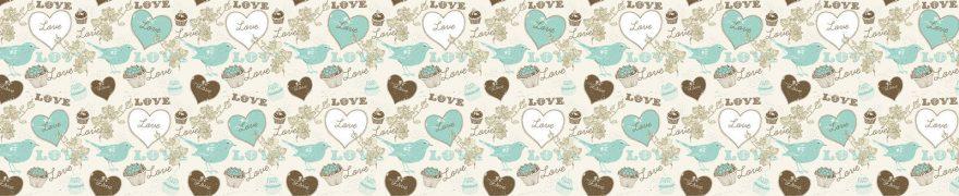 Изображение для стеклянного кухонного фартука, скинали: паттерн, птицы, сердце, patneit056