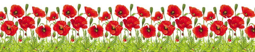 Изображение для стеклянного кухонного фартука, скинали: цветы, маки, patneit059