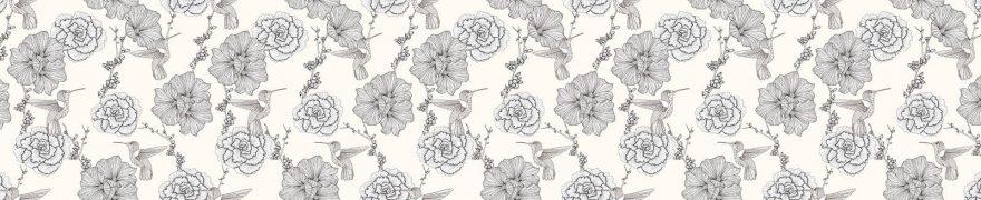 Изображение для стеклянного кухонного фартука, скинали: цветы, паттерн, patneit063