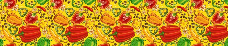 Изображение для стеклянного кухонного фартука, скинали: паттерн, овощи, перец, patneit067