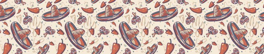 Изображение для стеклянного кухонного фартука, скинали: паттерн, мексика, перец, шляпа, patneit069