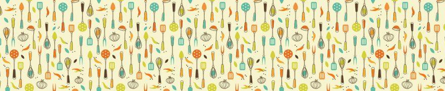 Изображение для стеклянного кухонного фартука, скинали: паттерн, столовые приборы, patneit070