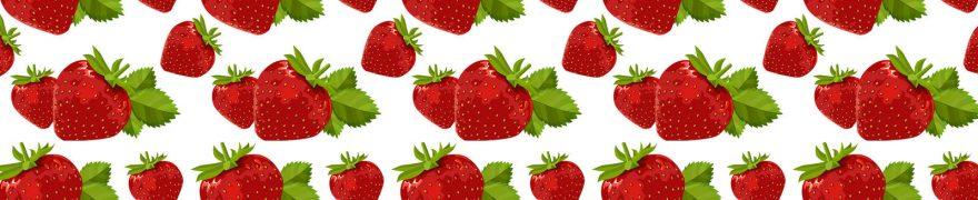 Изображение для стеклянного кухонного фартука, скинали: паттерн, ягоды, клубника, patneit072