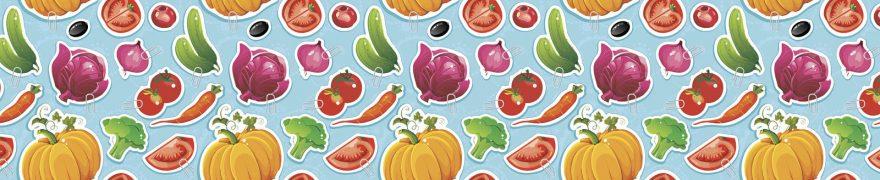 Изображение для стеклянного кухонного фартука, скинали: паттерн, овощи, patneit078