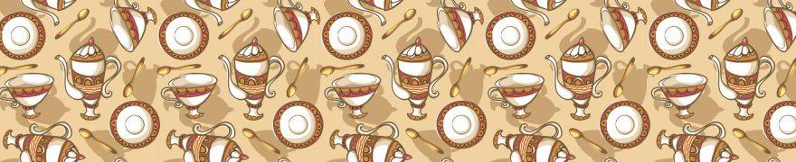 Изображение для стеклянного кухонного фартука, скинали: паттерн, посуда, patneit079