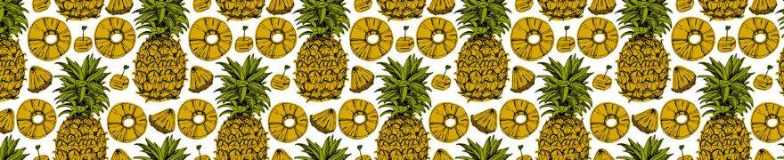 Изображение для стеклянного кухонного фартука, скинали: паттерн, фрукты, ананасы, patneit080