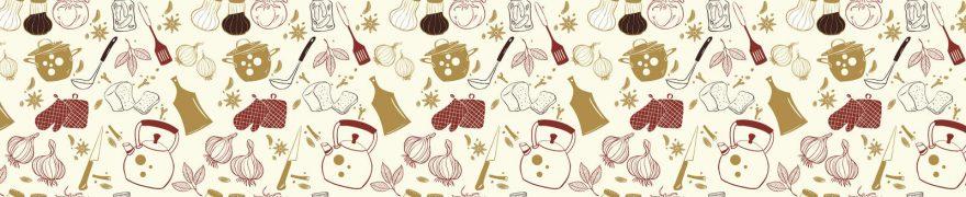 Изображение для стеклянного кухонного фартука, скинали: паттерн, посуда, столовые приборы, patneit081