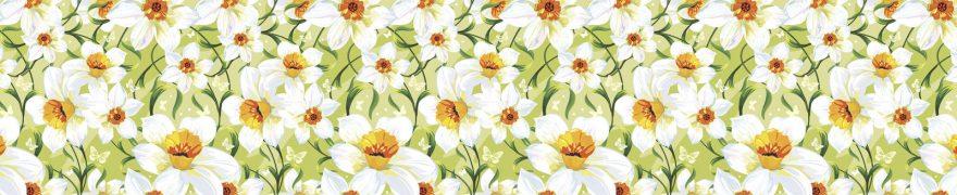 Изображение для стеклянного кухонного фартука, скинали: цветы, паттерн, нарциссы, patneit090