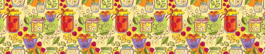Изображение для стеклянного кухонного фартука, скинали: паттерн, банки, patneit094
