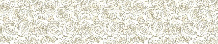 Изображение для стеклянного кухонного фартука, скинали: цветы, паттерн, розы, patsvet015