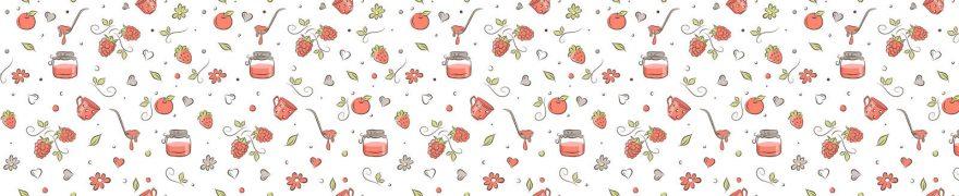 Изображение для стеклянного кухонного фартука, скинали: цветы, паттерн, ягоды, банки, patsvet016