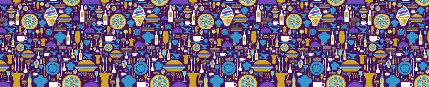 Изображение для стеклянного кухонного фартука, скинали: паттерн, посуда, столовые приборы, pattemn012