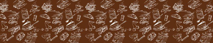 Изображение для стеклянного кухонного фартука, скинали: паттерн, посуда, еда, pattemn042