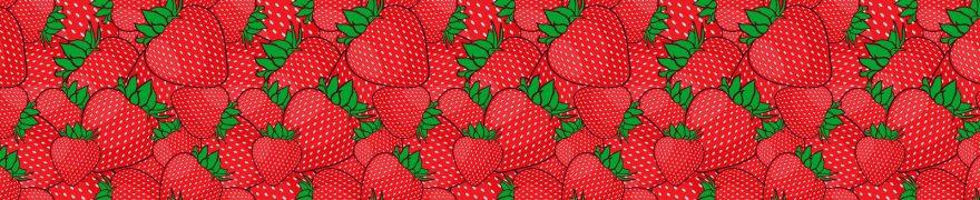 Изображение для стеклянного кухонного фартука, скинали: паттерн, ягоды, клубника, pattemn045