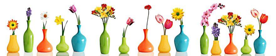 Изображение для стеклянного кухонного фартука, скинали: цветы, ваза, rastcve033