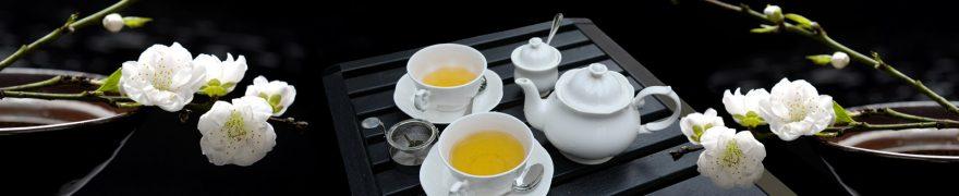 Изображение для стеклянного кухонного фартука, скинали: цветы, посуда, чай, rastcve038