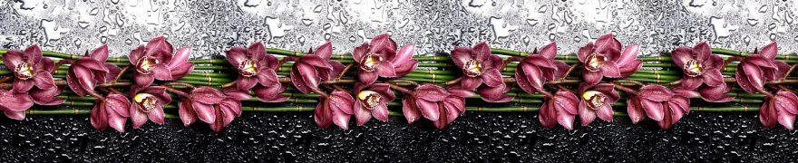 Изображение для стеклянного кухонного фартука, скинали: цветы, бамбук, орхидеи, rastcve045
