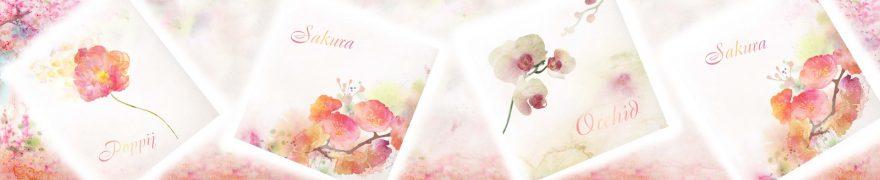 Изображение для стеклянного кухонного фартука, скинали: цветы, коллаж, rastcve067