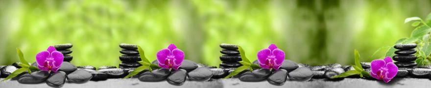 Изображение для стеклянного кухонного фартука, скинали: цветы, орхидеи, камни, rastcve068