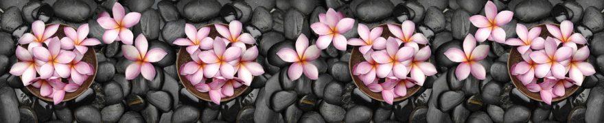 Изображение для стеклянного кухонного фартука, скинали: цветы, камни, rastcve081