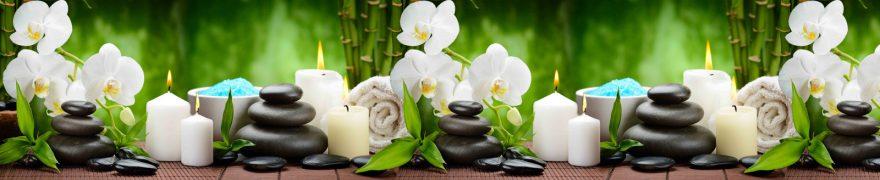 Изображение для стеклянного кухонного фартука, скинали: цветы, бамбук, орхидеи, камни, спа, свечи, rastcve088