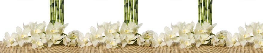 Изображение для стеклянного кухонного фартука, скинали: цветы, бамбук, орхидеи, rastcve090